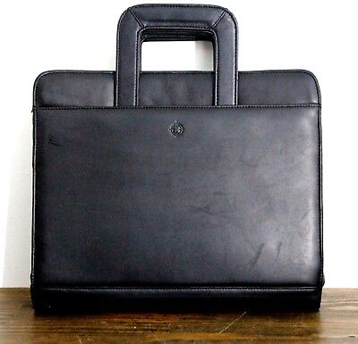 11x13 Franklin Covey Black Real Leather 3-ring 1 Binder Zip Planner Organizer