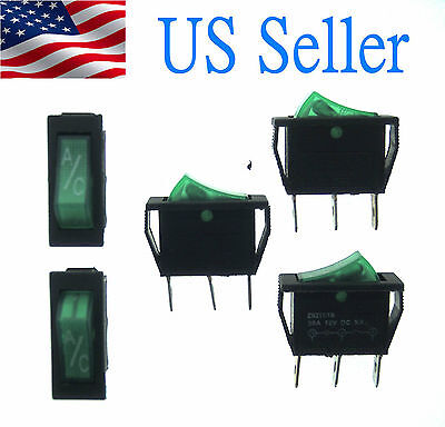 Pin Snap - 5X AC 250V/15A 3 Pins SPST Green Light Snap in Boat Rocker Switch(KCD3)