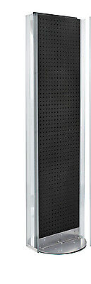 New Black 2 Sided Pegboard Floor Display Stand With Revolving Base 16w X 60 H