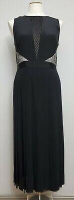 EUC!!!PAUL SMITH BLACK LABEL Black White Silk Chiffon Pleat Cutout Dress 44 10