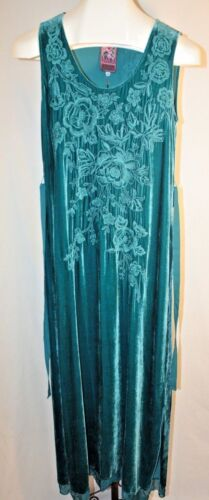 Johnny Was Womens Ladies Teal Velvet Sleeveless Taula Maxi Dress Size Medium
