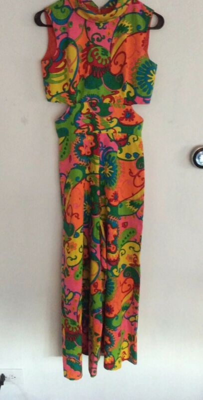 Vtg Polynesian Palazzo Jumpsuit~Psychedelic~60's 70s Cutout (lotus Fashion)