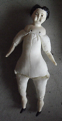 """Vintage 1970s Ceramic Cloth Old Fashion Style Woman Art Doll 12"""" Tall"""