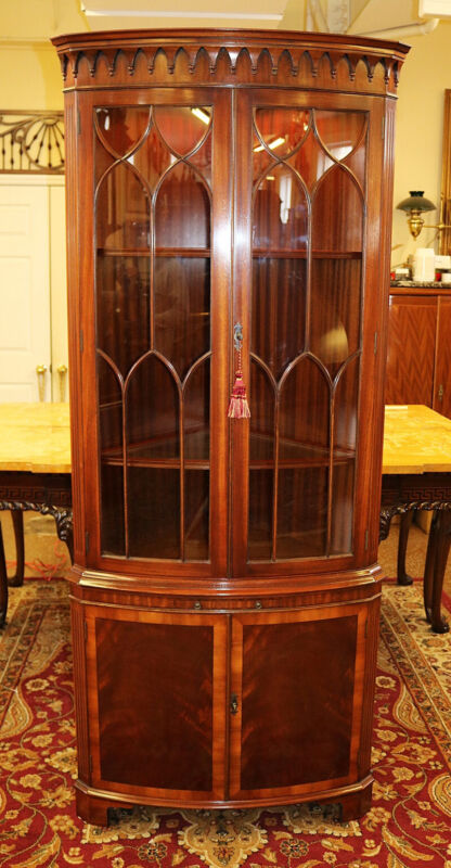 Fabulous Mahogany English Regency Style Corner Cabinet By Bevan Funnell