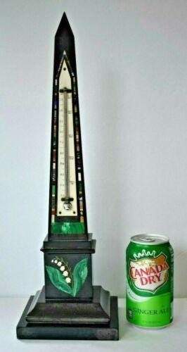 "17"" Antique Victorian Grand Tour Intarsia Pietra Dura Inlay OBELISK Thermometer"