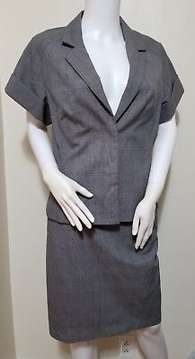 Express Design Studio Womens Size 8 10 2pc. Skirt Suit Pink Gray Black - Express Suits Womens