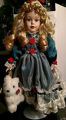 """SEYMOUR MANN, A CONNOISSEUR COLLECTION DOLL, """"MERRI"""" NO.RDK-1200 With Doll Stand"""