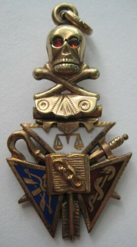 ANTIQUE Gold Filled KNIGHTS OF PYTHIAS Fob Charm Pendant Enamel SKULL~CROSSBONES