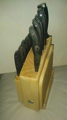 Hampton Forge Knife set 12 -- sharpener- wooden holder-cutting bord [nice[