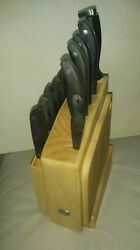 Hampton Forge Knife set 12 -- sharpener- wooden holder-cutting bord [nice[