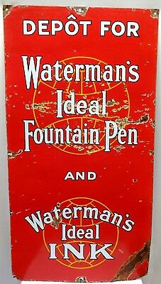 WATERMAN'S IDEAL FOUNTAIN PEN ADVERTISE SIGN AMERICAN VINTAGE PORCELAIN ENAMEL