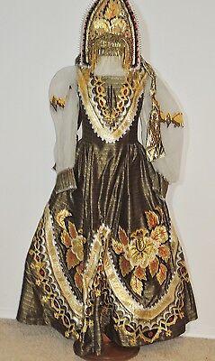 Vintage Ethnic Gold Lame Appliqued Dress / Blouse Head Dress SM