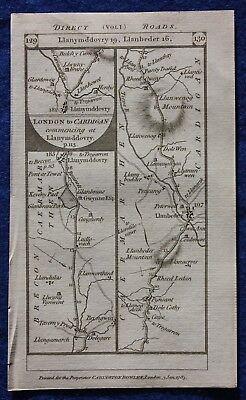 Original antique road map WALES, BRECON, CARMARTHEN, CARDIGAN, Paterson, 1785