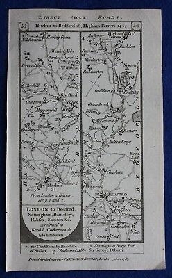 Original antique road map BEDFORD, KETTERING, UPPINGHAM, Paterson, 1785