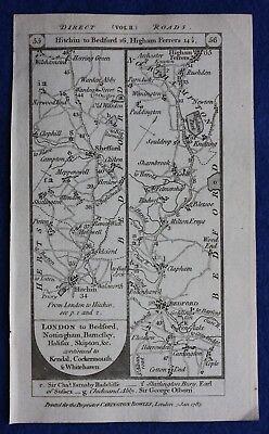 Original antique road map BEDFORD, KETTERING, UPPINGHAM, Paterson, 1785