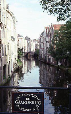 Gaardbrug Bridge Sign Canal Utrecht Netherlands 35mm Color Kodachrome Slide