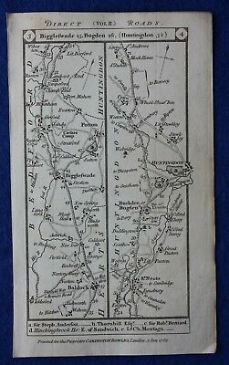 Original antique road map ST NEOTS, HUNTINGDON, STILTON, STAMFORD, Paterson 1785