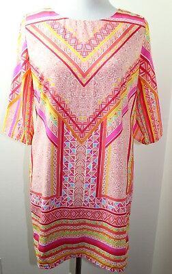 S LOVE ZOE BOHO GEOMETRIC PATTERN 3/4 SLEEVE EXPOSED ZIPPER SHIFT DRESS SIZE - Love Zoe Dresses