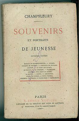 CHAMPFLEURY SOUVENIRS ET PORTRAITS DE JEUNESSE DENTU 1872 LETTERATURA FRANCESE