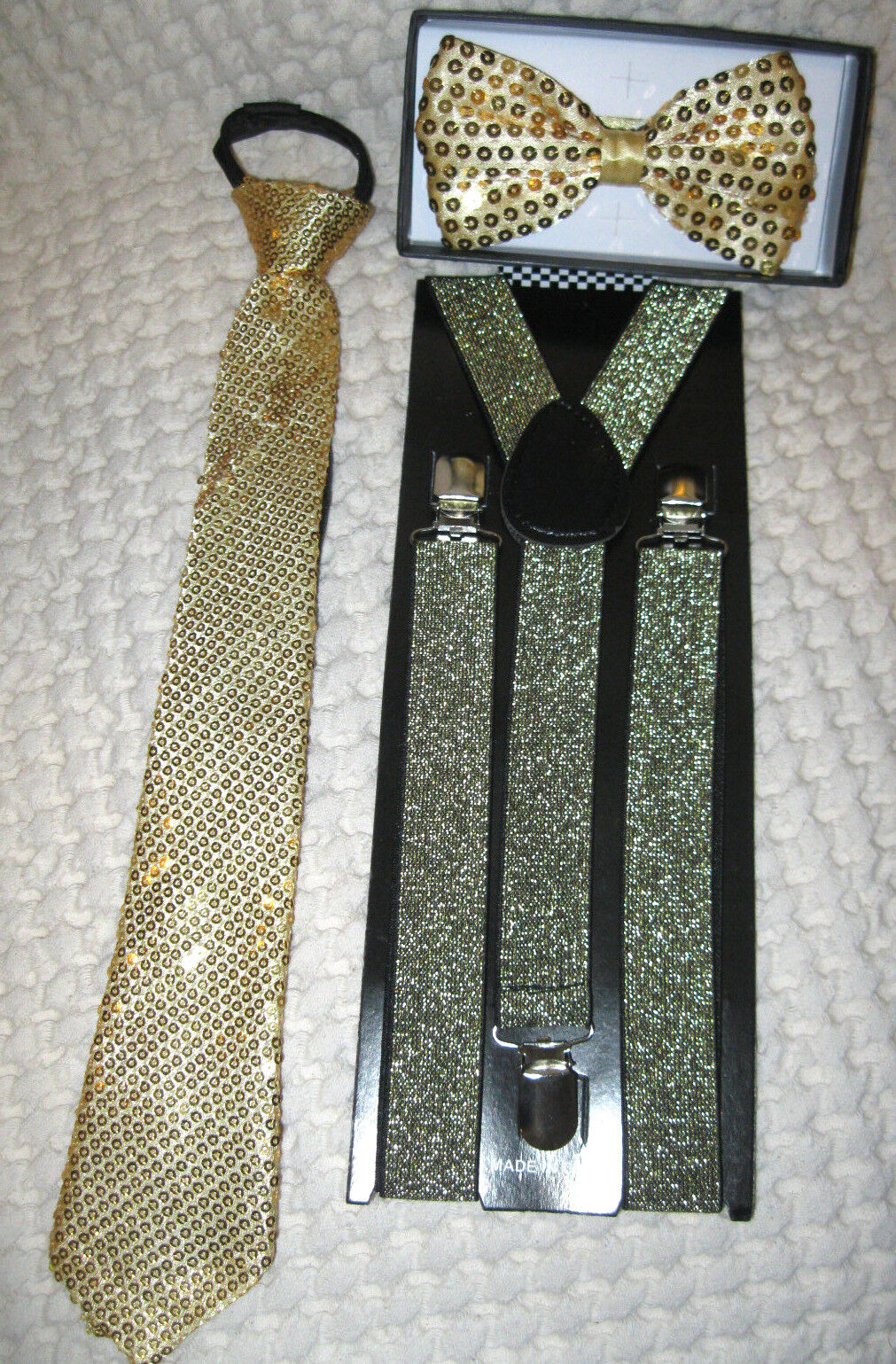gold sequin adjustable bow tie neck tie gold glittered