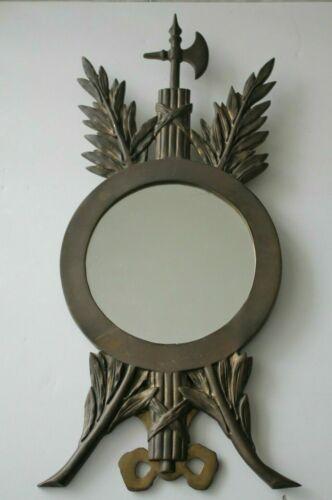RARE Antique Art Nouveau Mirror Easel in Brass with Roman Fasces Symbol