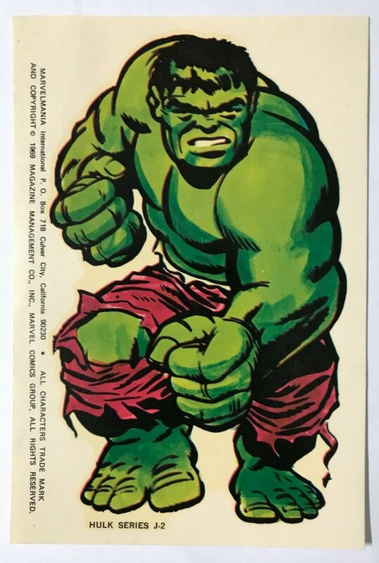 1969 Marvelmania Int Club MARVEL INCREDIBLE HULK STICKER MAIL ORDER ONLY RARE