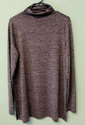 Lands End Womens M 10 12 funnel neck tunic stretch long sleeves purple white -
