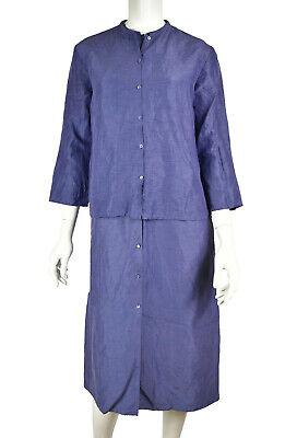 EILEEN FISHER Blue 2-Piece Linen & Silk Button Up Dress & Jacket Set Size XS/S 2 Piece Blue Dress