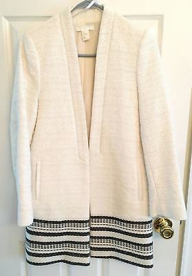 $40 H & M Black Ivory Cream Border Print Textured Coat Jacket Blazer Small 4 34