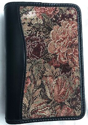 Franklin Covey Floral Tapestry Nappa Leather Trim Ring Binder Planner 24564.052