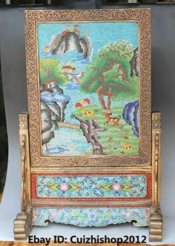 "24"" Royal Cloisonne Enamel Gold Gilt Scenery Sika Deer folding screen Sculpture"