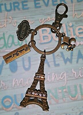 Eiffel Tower Keychain (Eiffel Tower keychain Paris French Charms Brass Keychain GIFT SOUVENIR)