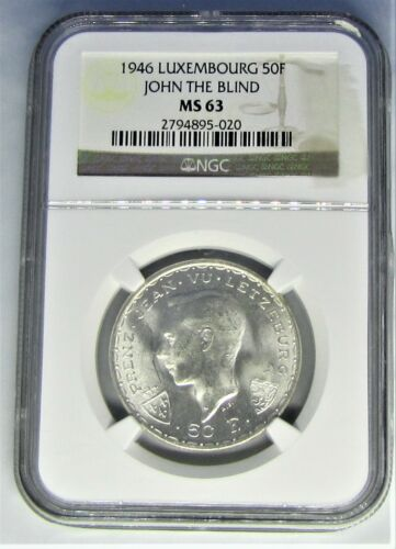 LUXEMBOURG 50 FRANCS -1946 - NGC MS63 - SILVER - BWB-627
