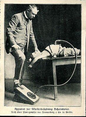Apparat zur Wiederbelebung Scheintoter - Zeitungsausschnitt 1906