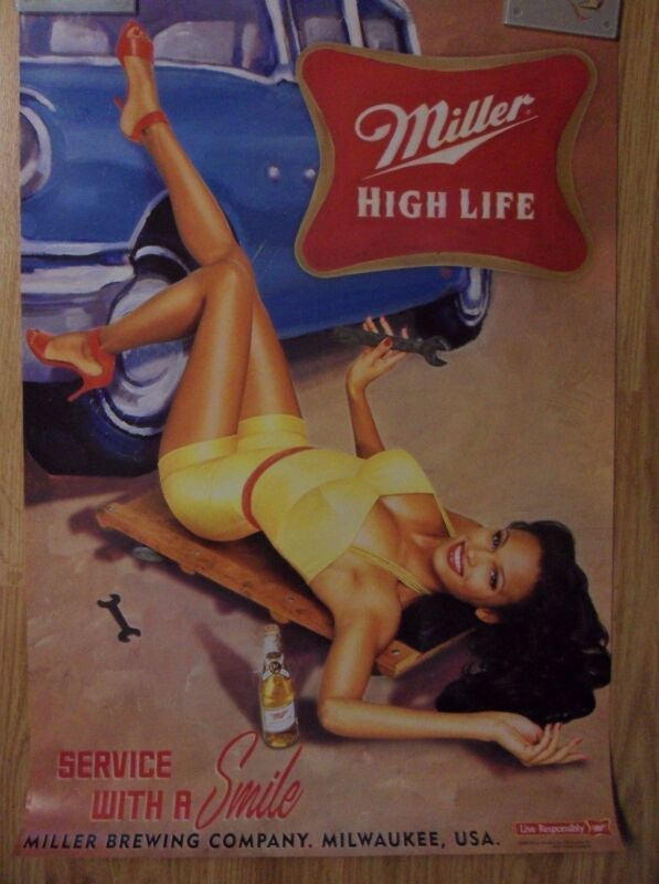 Sexy Girl Beer Poster Miller High Life ~ Service with a Smile Auto Mechanic Art