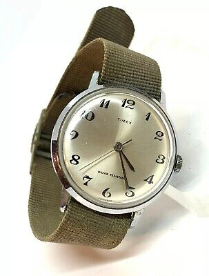 VINTAGE TIMEX 1970 MARLINS MENS HAND WIND WATCH GREEN MILITARY BAND 20142470