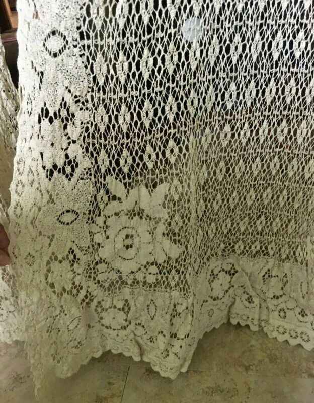 """Antique Crochet Lace Curtains, Ecru - 4 Panels - 82.5"""" long x 20"""" wide"""