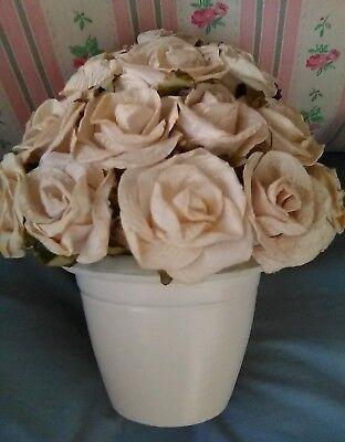 Bouquet Of Paper Roses In Ceramic Flower Pot Home Decor - Ceramic Flower