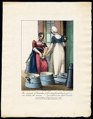 Antique Print-COSTUME-AMSTERDAM-MILKMAID-NETHERLANDS-Greeve-Villeneuve-1829