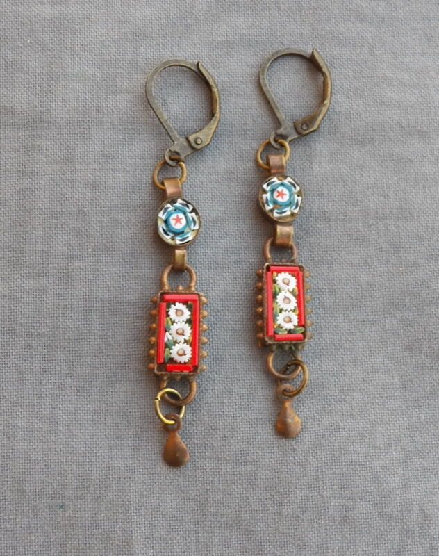 Vintage Drop Dangle Daisys Victorian Style Micro Mosaic Earrings