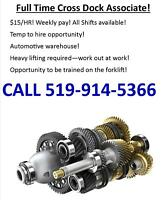 Full time Warehouse positions in Woodstock- call 519-914-5366