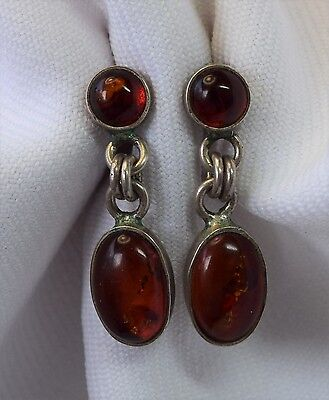Vintage Polished Amber Sterling Silver Dangling Pierced Earrings