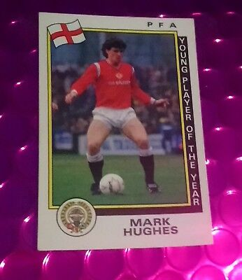 PANINI FOOTBALL 86 STICKER MARK HUGHES MANCHESTER UNITED FOOTBALL CLUB # 3 NEW