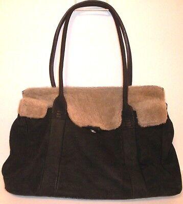 SOFIA C. Italian Brown Soft Genuine Leather 100% Montone Shearling Fur Tote Bag