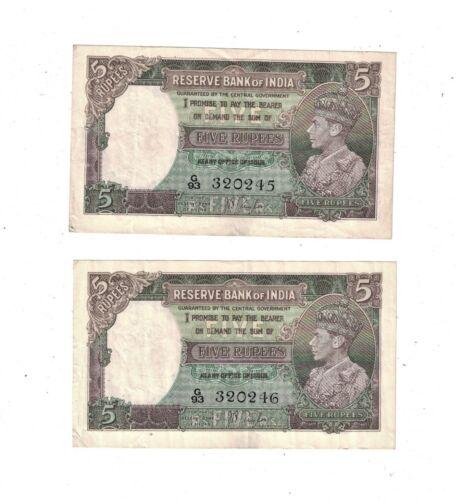 British India 1937 5 Rupees P19a VF 2 Consecutive notes PB2