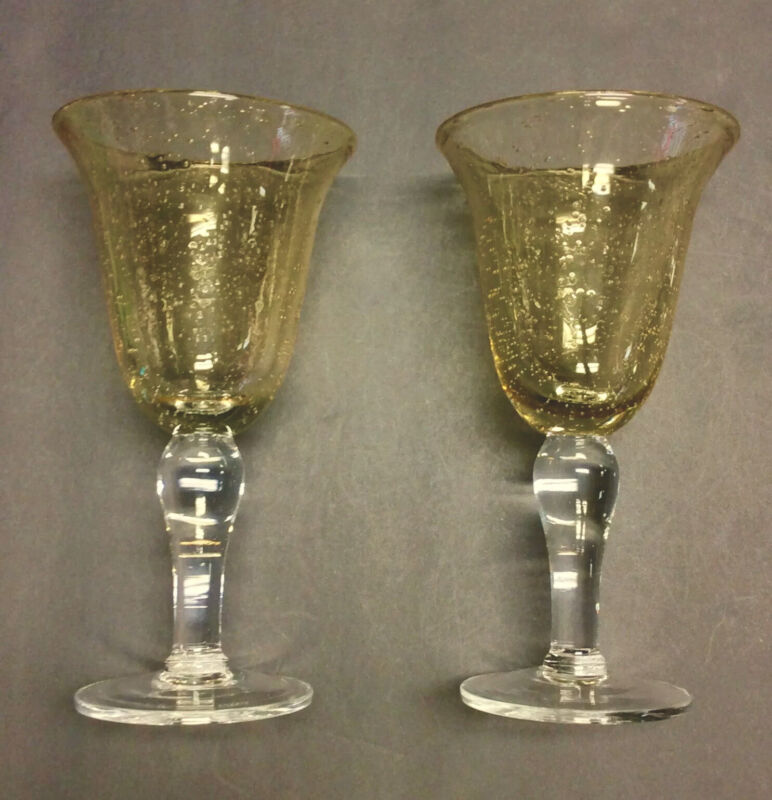 Set Of Two Golden / Amber Bubble Glass Wine Goblet Clear Stem