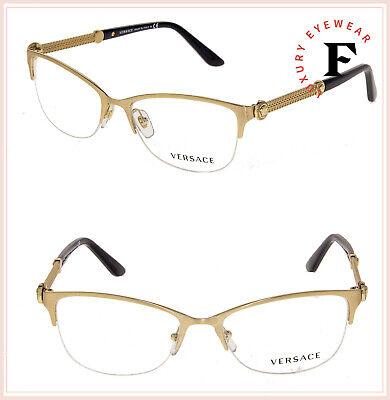 a850cbe1ead4 VERSACE Vintage Vanitas Chain VE1228 Black Gold Eyeglasses 1228 RX Optical  53mm