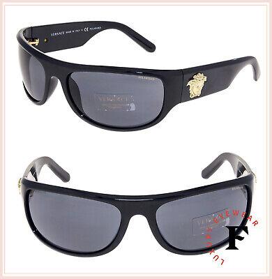 VERSACE Men Gold Medusa Wrap Sunglasses VE4276 Shiny Black Polarized 4276 ()