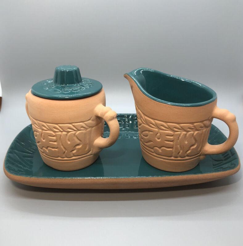 Frankoma Pottery Mayan Aztec Sugar & Creamer on Tray Terra Cotta Green