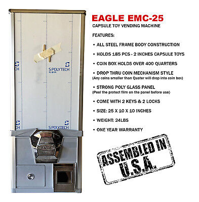 Eagle Cabinet 25 Inches 75 Capsule Toy Vending Machine New One Year Warranty